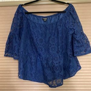 blue lace blouse